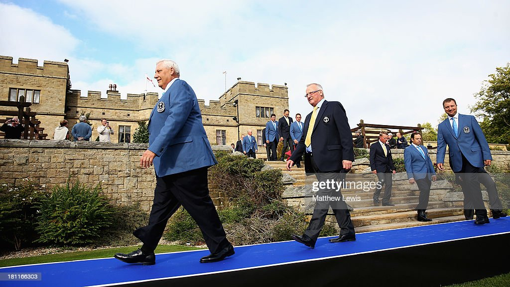 Allen Wronowski, Captain of the USA PGA Cup team and Russell Weir, Captain of the Great Britain and Ireland PGA Cup lead out their teamsahed of the opening ceremony ahead of the 26th PGA Cup at De Vere Slaley Hall on September 19, 2013 in Hexham, England.