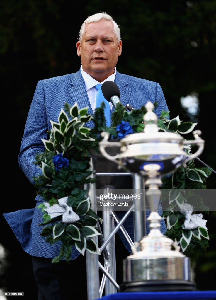 Allen Wronowski, Captain of the USA PGA Cup team talks during the opening ceremony ahead of the 26th PGA Cup at De Vere Slaley Hall on September 19, 2013 in Hexham, England.