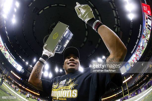 Allenzae Staggers of the Southern Miss Golden Eagles celebrates after winning the New Orleans bowl against the LouisianaLafayette Ragin Cajuns at the...