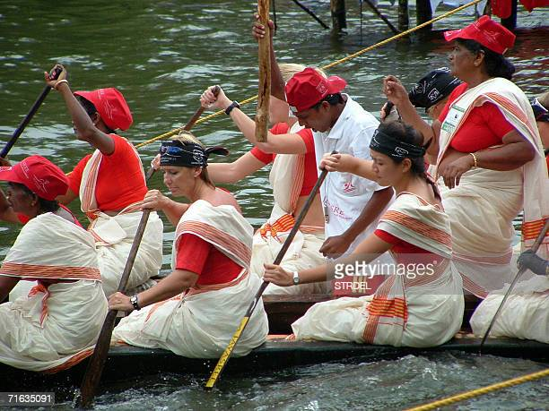 Foreign oarsmen and women prepare to take part in the Nehru Boat Races in Alleppy 12 August 2006 The boat races which feature both men's and women's...
