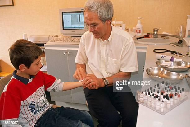 Allergist administering Allergy Test