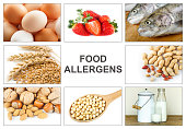 Allergy food concept. Food allergens as eggs, milk, fruit, tree nuts, peanut, soy, wheat and fish. Text 'food allergens' easy to remove