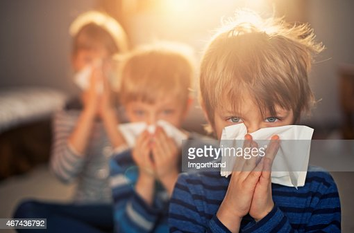 Allergy generation - kids blowing noses