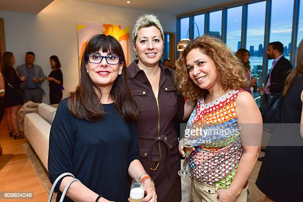 Allesandra Da Silva Elizabeth Pizzulli and Zahra Joudi attend 565 Broome Sales Gallery launch event at 372 West Broadway on September 20 2016 in New...