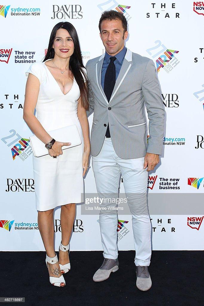 Allesandro Del Piero and Sonia Del Piero arrives at the 27th Annual ARIA Awards 2013 at the Star on December 1, 2013 in Sydney, Australia.