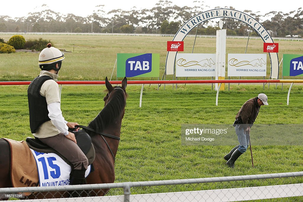 Allesandro Guerrini on Mount Athos gets Charles Henson to find the best turf to ride on during trackwork ahead of the Melbourne Cup at Werribee Racecourse on November 4, 201 in Melbourne, Australia.