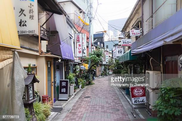 Alley with restaurants at daytime in Koto-ku Tokyo