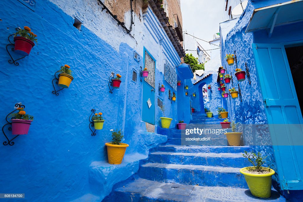 Alleyway in Chefchaouen, Morocoo : Stock Photo