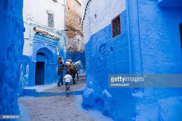 Gasse liegt in Chefchaouen, Morocoo