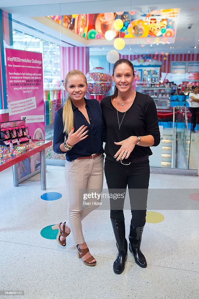 Alli Simpson and her mother attend Alli Simpson Signature Nail Series Launch Event at Dylan's Candy Bar on March 28, 2013 in New York, New York.