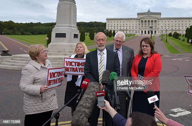 Alliance leader David Ford is confronted by Kate Nash a family member of one of the Bloody Sunday victims as he holds a press conference at Stormont...