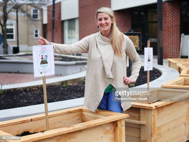 Allie Harvell an MPH student at UNE has created eight garden boxes that will contain edible plants for Blue Note Park an urban park as part of her...