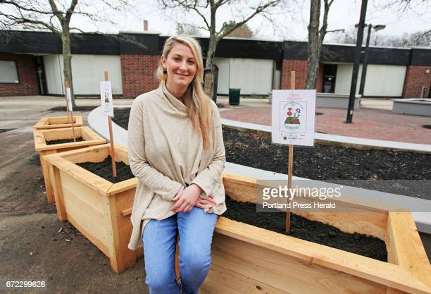 Allie Harvell an MPH student at UNE has created eight planters for Blue Note Park as part of her final project