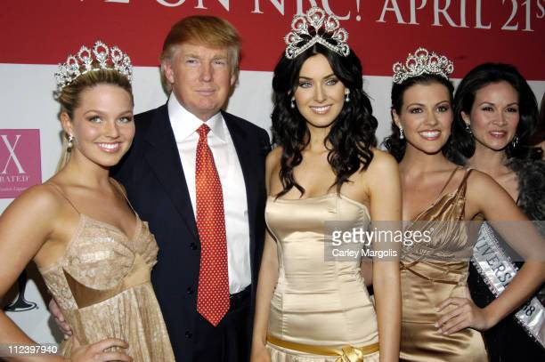 Allie LaForce Miss Teen USA 2005 Donald Trump Natalie Glebova Miss Universe 2005 Chelsea Cooley Miss USA 2005 and Porntip 'Bui' Nakara Simon Miss...