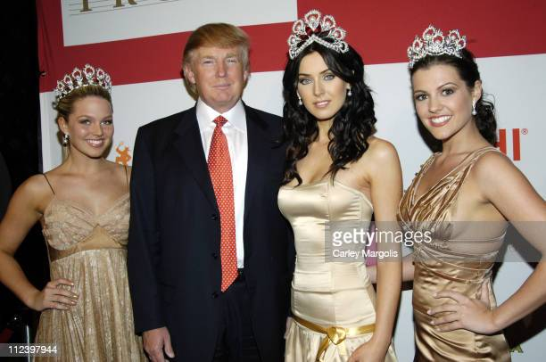 Allie LaForce Miss Teen USA 2005 Donald Trump Natalie Glebova Miss Universe 2005 and Chelsea Cooley Miss USA 2005