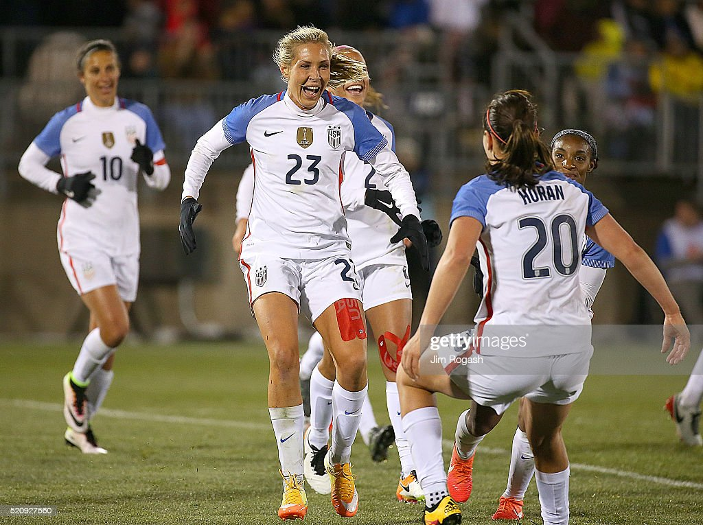 Allie Long #23 of United States of America celebrates her goal against Columbia during an international friendly soccer match against the United States at the Pratt & Whitney Stadium on April 6, 2016 in East Hartford, Connecticut.