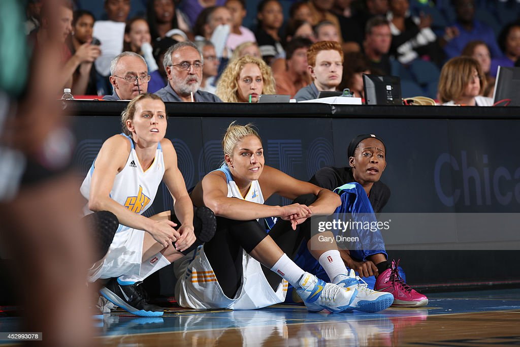 <a gi-track='captionPersonalityLinkClicked' href=/galleries/search?phrase=Allie+Quigley&family=editorial&specificpeople=5133567 ng-click='$event.stopPropagation()'>Allie Quigley</a> #14 (L) and <a gi-track='captionPersonalityLinkClicked' href=/galleries/search?phrase=Elena+Delle+Donne&family=editorial&specificpeople=5042380 ng-click='$event.stopPropagation()'>Elena Delle Donne</a> #11 of the Chicago Sky wait to enter the game against the New York Liberty on July 31, 2014 at Allstate Arena in Rosemont, Illinois.