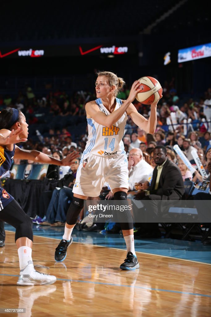 <a gi-track='captionPersonalityLinkClicked' href=/galleries/search?phrase=Allie+Quigley&family=editorial&specificpeople=5133567 ng-click='$event.stopPropagation()'>Allie Quigley</a> #14 of the Chicago Sky controls the ball against the Indiana Fever on July 22, 2014 at the Allstate Arena in Rosemont, Illinois.