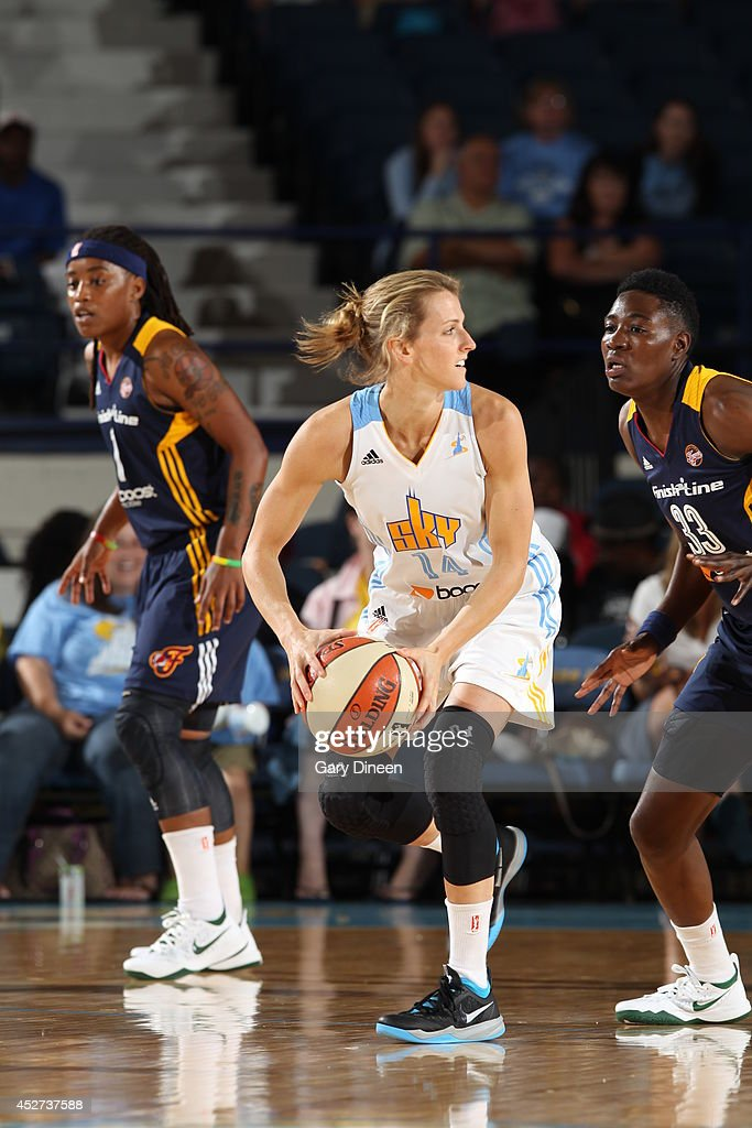 <a gi-track='captionPersonalityLinkClicked' href=/galleries/search?phrase=Allie+Quigley&family=editorial&specificpeople=5133567 ng-click='$event.stopPropagation()'>Allie Quigley</a> #14 of the Chicago Sky looks to pass the ball against the Indiana Fever on July 22, 2014 at the Allstate Arena in Rosemont, Illinois.