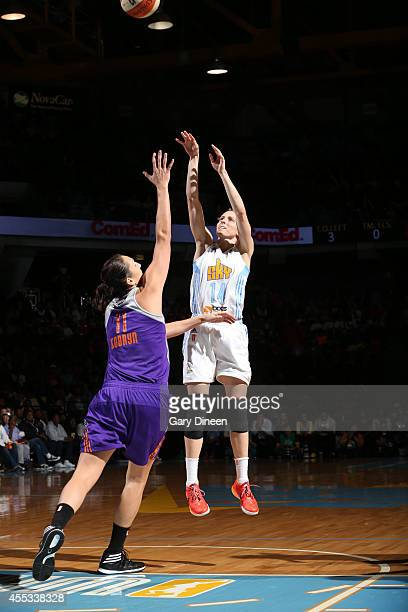 Allie Quigley of the Chicago Sky shoots against Ewelina Kobryn of the Phoenix Mercury in Game Three of the 2014 WNBA Finals on September 12 2014 at...