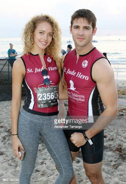 Allie Silva and Steven McQueen are seen at the Life Time Triathalon on April 2 2017 in Miami Beach Florida