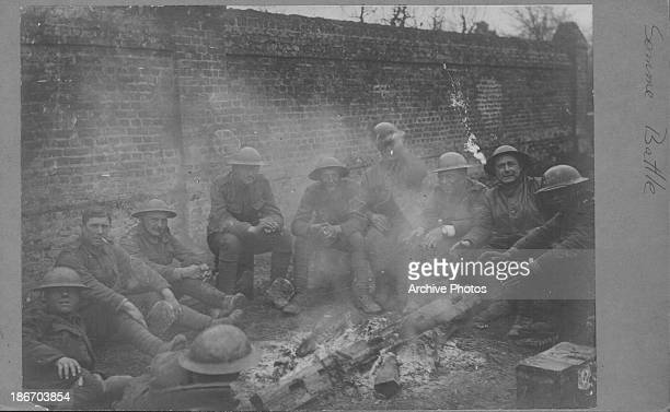 Allied soldiers resting between active duty at the Battle of the Somme during World War One France circa 19141918