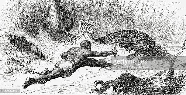 Alligator Hunting In 19Th Century Colombia From El Mundo En La Mano Published 1875