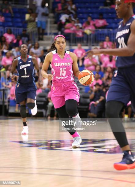 Allisha Gray of the Dallas Wings brings the ball up court against the Atlanta Dream on August 19 2017 at College Park Center in Arlington Texas NOTE...