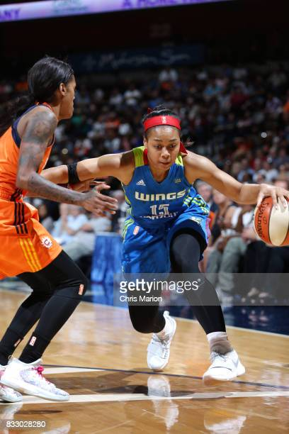 Allisha Gray of the Dallas Wings handles the ball against the Connecticut Sun on August 12 2017 at Mohegan Sun Arena in Uncasville CT NOTE TO USER...