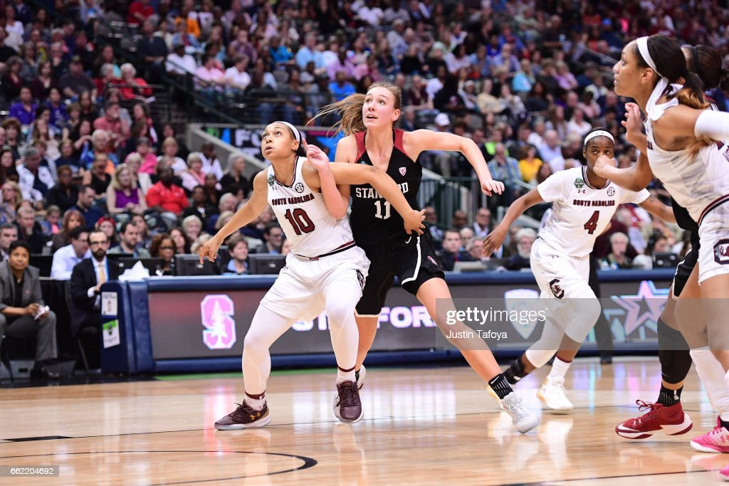 Allisha Gray #10 of the South Carolina Gamecocks and Alanna Smith #11 of the Stanford Cardinal fight for a rebound during the 2017 Women's Final Four at American Airlines Center on March 31, 2017 in Dallas, Texas.