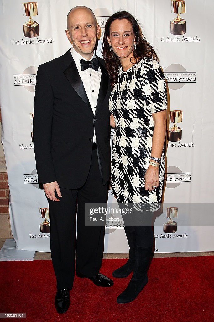 Allison Abbate (R) and John August arrive at the 40th Annual Annie Awards held at Royce Hall on the UCLA Campus on February 2, 2013 in Westwood, California.