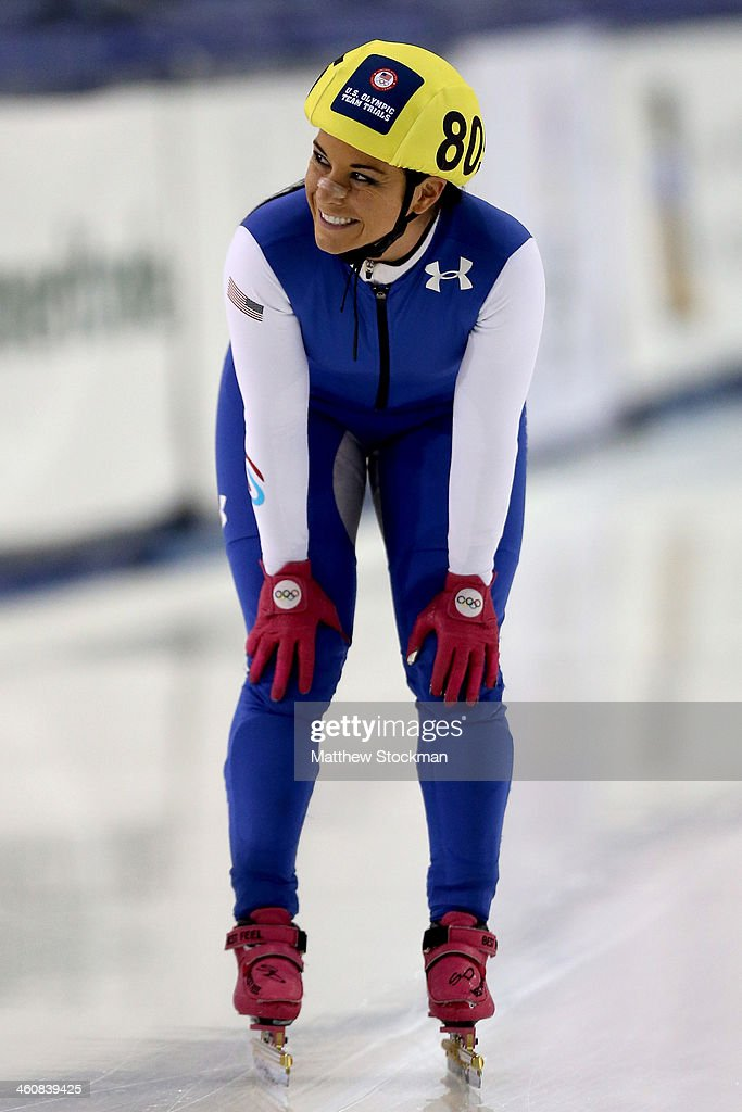 <a gi-track='captionPersonalityLinkClicked' href=/galleries/search?phrase=Allison+Baver&family=editorial&specificpeople=178234 ng-click='$event.stopPropagation()'>Allison Baver</a> #805 cools down after skating in the second ladies 1,000 meter C final during the U.S. Olympic Short Track Trials at the Utah Olympic Oval on January 5, 2014 in Salt Lake City, Utah.