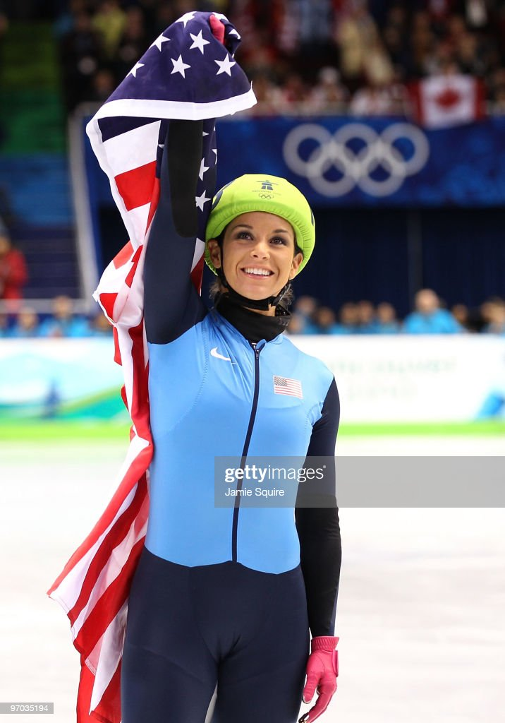 <a gi-track='captionPersonalityLinkClicked' href=/galleries/search?phrase=Allison+Baver&family=editorial&specificpeople=178234 ng-click='$event.stopPropagation()'>Allison Baver</a> of the United States celebrates after her team won the Olympic Bronze medal in the Ladies' 3000m relay finals in Short Track Speed Skating on day 13 of the 2010 Vancouver Winter Olympics at Pacific Coliseum on February 24, 2010 in Vancouver, Canada.