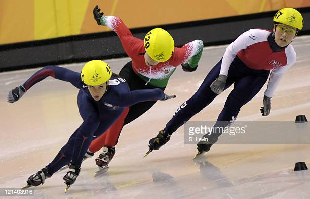 Allison Baver of the United States during the 2006 Olympic Games Women's 500 M Short Track event at the Palavela venue in Torino Italy on February 12...