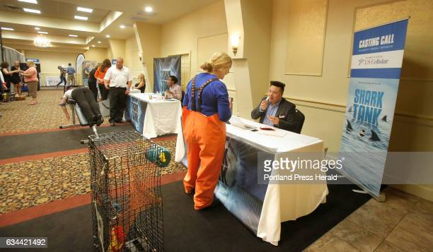 Allison Berube of Bangor pitches her Lobsterman's Balm to Nick Gaige a casting associate for the TV show Shark Tank during a casting call at the...