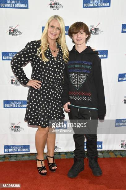 Allison Brown Jones of Big Machine Label Group and guest arrive at the 2017 Nashville Business Journal Women In Music City on October 17 2017 in...