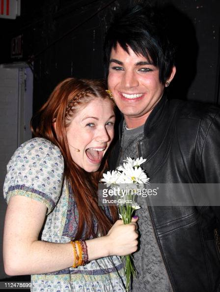 Allison Case and 'American Idol' singer Adam Lambert pose backstage at the hit revival of 'Hair' on Broadway at the Al Hirschfeld Theatre on May 26...