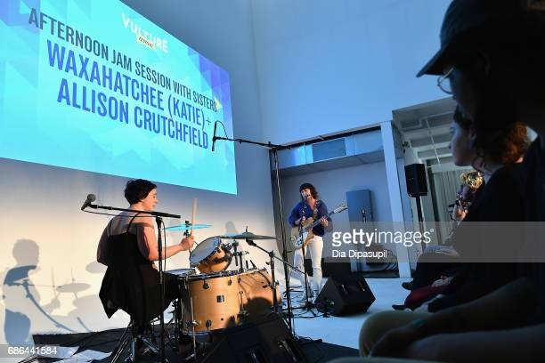 Allison Crutchfield and Katie Crutchfield perform onstage during An Afternoon Jam Session with Sisters Waxahatchee and Allison Crutchfield during the...