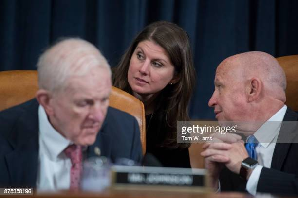 Allison Halataei Republican general counsel and parliamentarian talks with Chairman Kevin Brady RTexas during a markup of the Republican's tax reform...