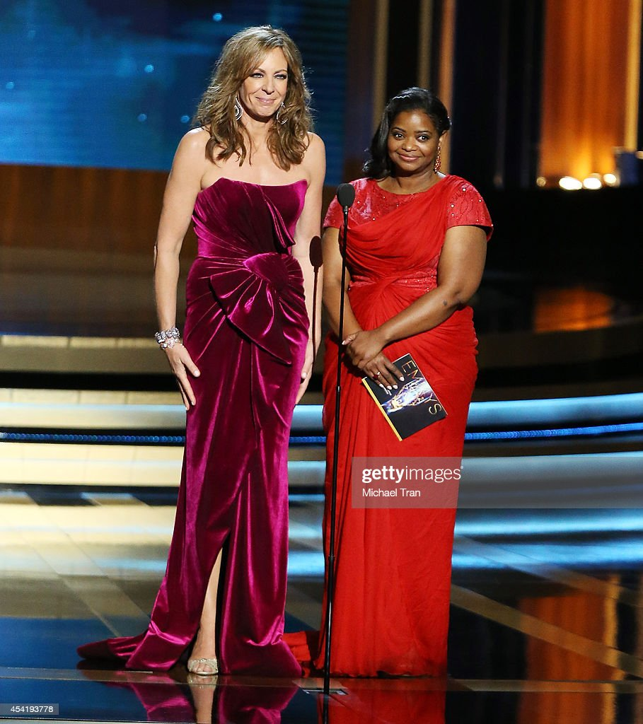 Allison Janney and Octavia Spencer speak onstage during the 66th Annual Primetime Emmy Awards held at Nokia Theatre LA Live on August 25 2014 in Los...