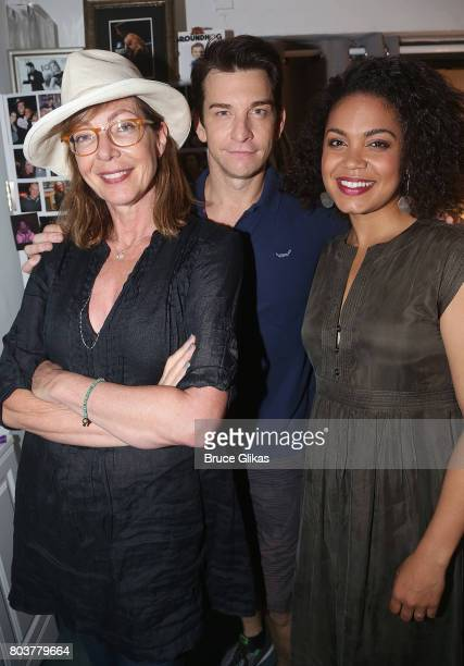 Allison Janney Andy Karl and Barrett Doss pose backstage at the hit musical 'Groundhog Day' on Broadway at The August Wilson Theatre on June 29 2017...