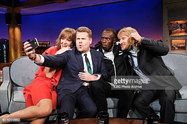 Allison Janney Olympic gold medalist Usain Bolt and Owen Wilson chat with James Corden during 'The Late Late Show with James Corden' Tuesday Sept 27...