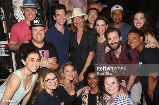 Allison Janney poses with the cast backstage at the hit musical 'Groundhog Day' on Broadway at The August Wilson Theatre on June 29 2017 in New York...