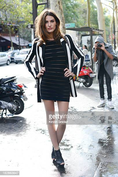 Allison Kadoche model wearing all Balmain on day 3 of Paris Fashion Week Womenswear Spring/Summer 2013 on September 27 2012 in Paris France