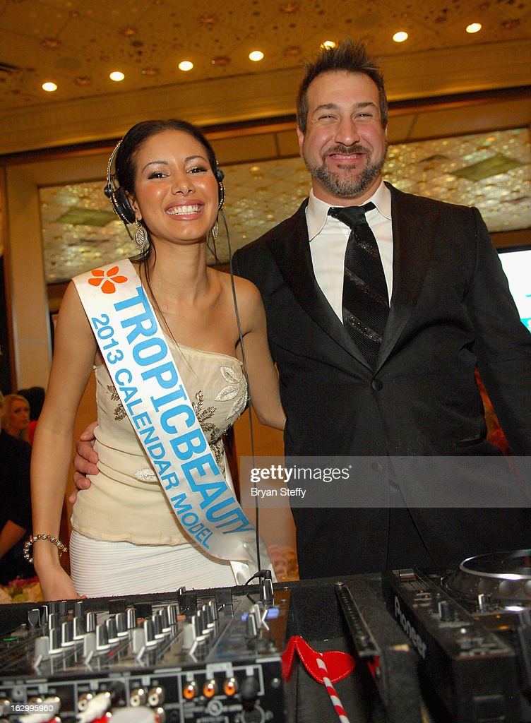 Allison Lamarre 'DJ Pixie' (L) and entertainer Joey Fatone appear at the third annual TropicBeauty World Finals at the MGM Grand Hotel/Casino on March 2, 2013 in Las Vegas, Nevada.