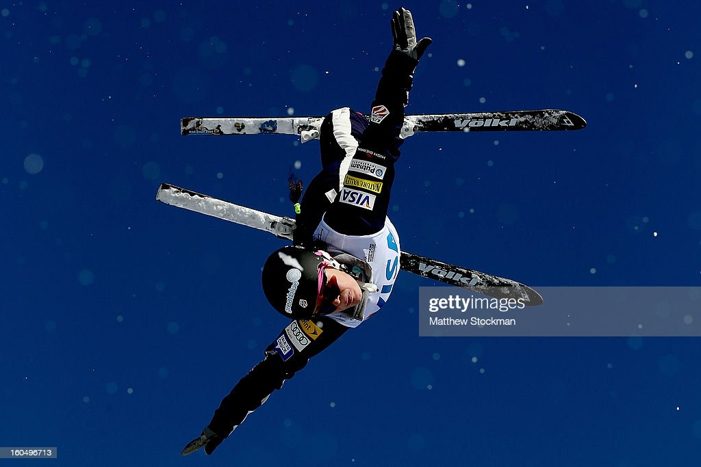 Allison Lee #20 jumps while training for the Ladies Aerials during the Visa Freestyle International at Deer Valley on February 1, 2013 in Park City, Utah.