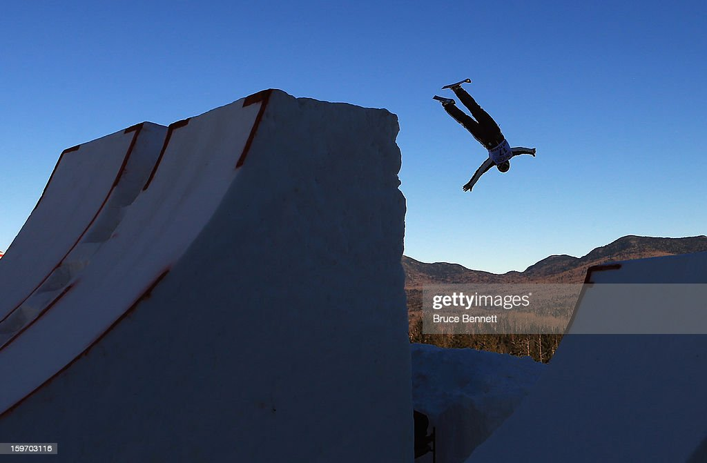 Allison Lee #17 of the USA jumps in the USANA Freestyle World Cup aerial competition at the Lake Placid Olympic Jumping Complex on January 18, 2013 in Lake Placid, New York.