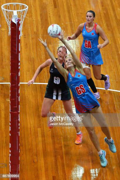 Allison Miller of the Waratahs catches the ball during the round six ANL match between the Netball NSW Waratahs and the Tasmanian Magpies at Sydney...