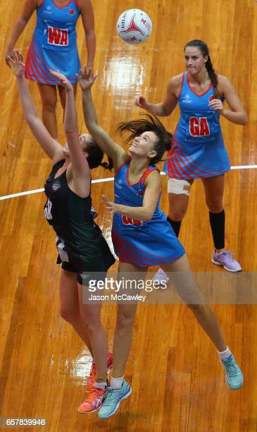 Allison Miller of the Waratahs competes for the ball during the round six ANL match between the Netball NSW Waratahs and the Tasmanian Magpies at...