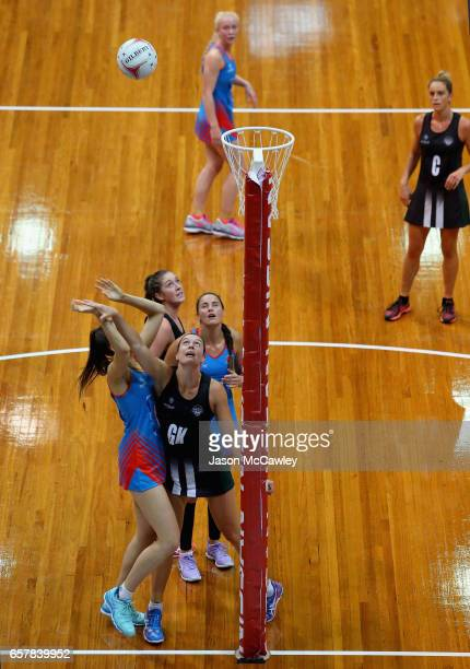 Allison Miller of the Waratahs shoots for goal during the round six ANL match between the Netball NSW Waratahs and the Tasmanian Magpies at Sydney...